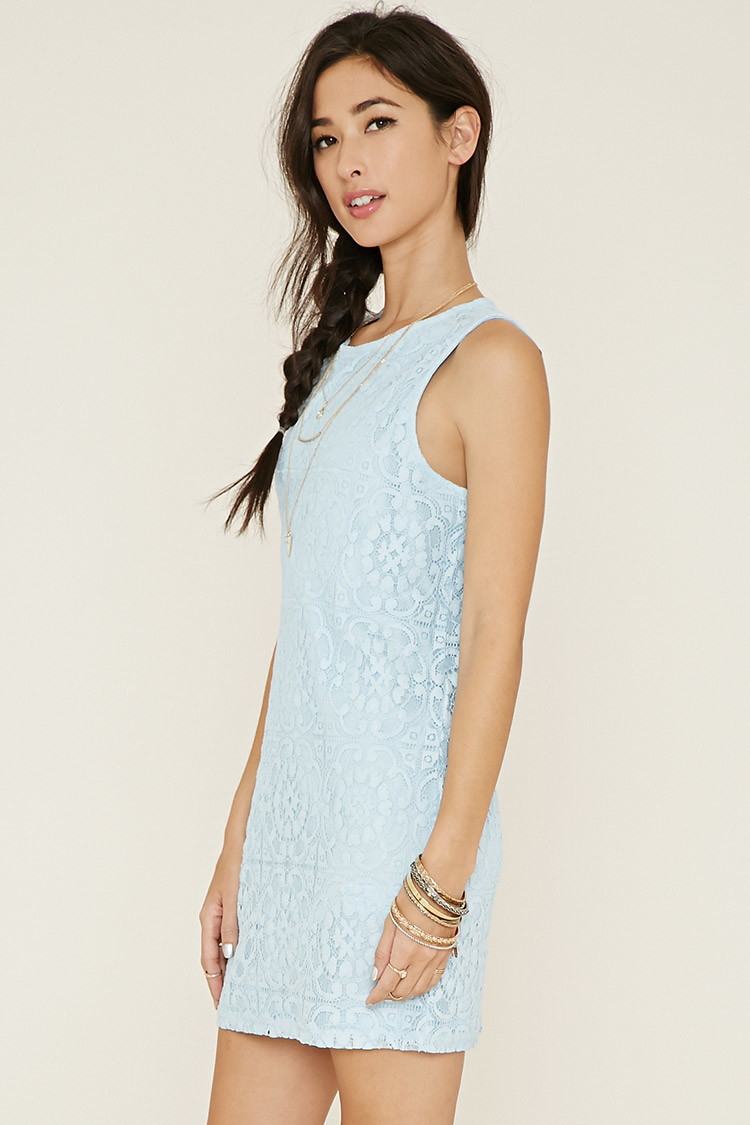 48bb636db7fa Forever 21 Lace Shift Dress in Blue - Lyst