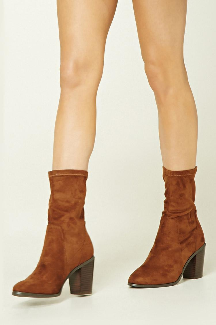 forever 21 faux suede sock boots in brown lyst