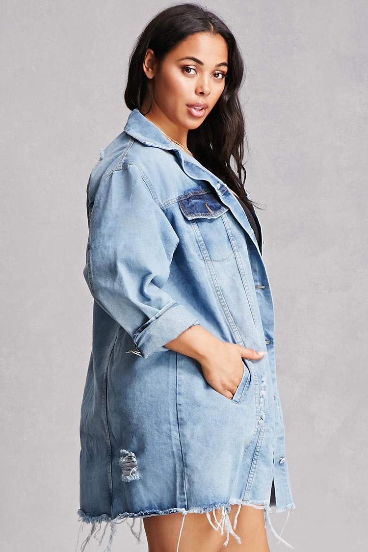 Forever 21 Plus Size Longline Denim Jacket In Blue   Lyst