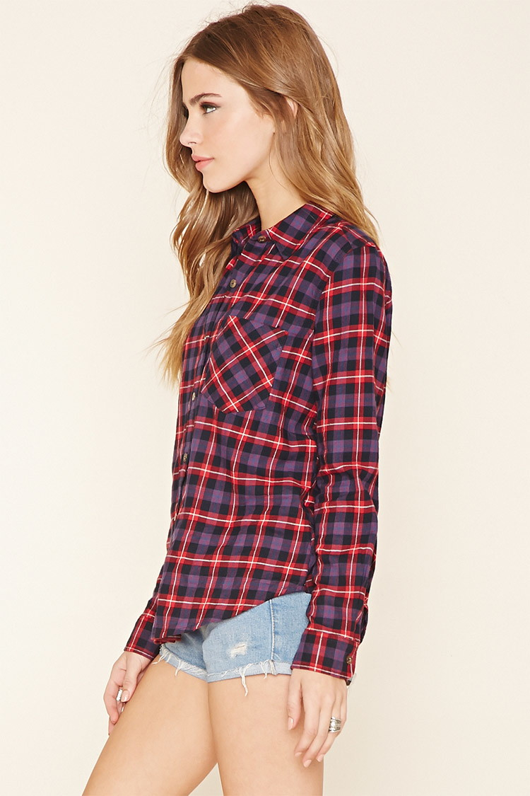 Forever 21 Plaid Flannel Shirt In Red Lyst