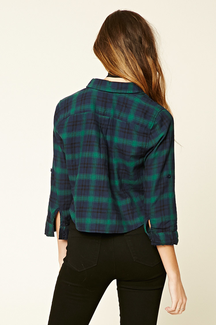 Lyst Forever 21 Plaid Flannel Shirt In Blue