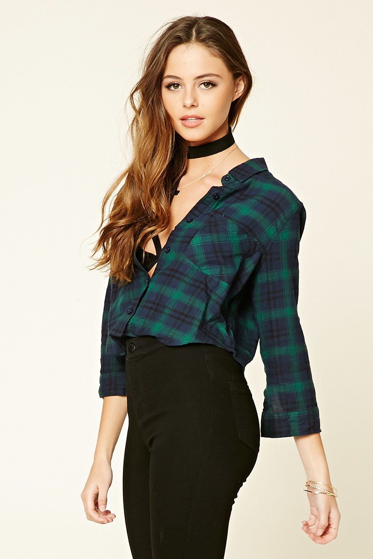 Lyst forever 21 plaid flannel shirt in blue for Flannel shirts for womens forever 21