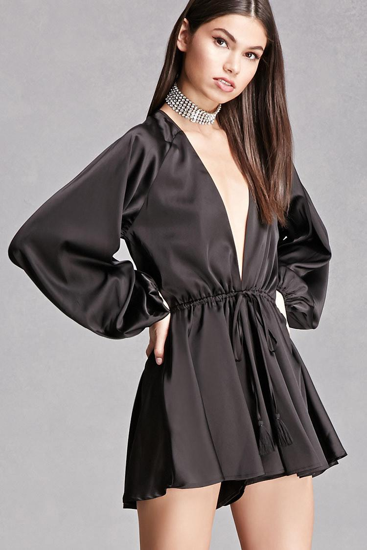 Forever 21 Plunging V-neck Satin Romper in Black | Lyst