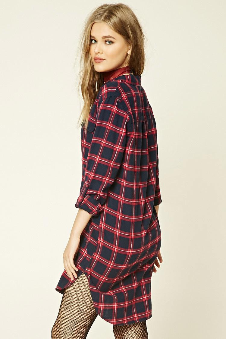 Forever 21 Plaid Flannel Shirt Dress In Red Lyst