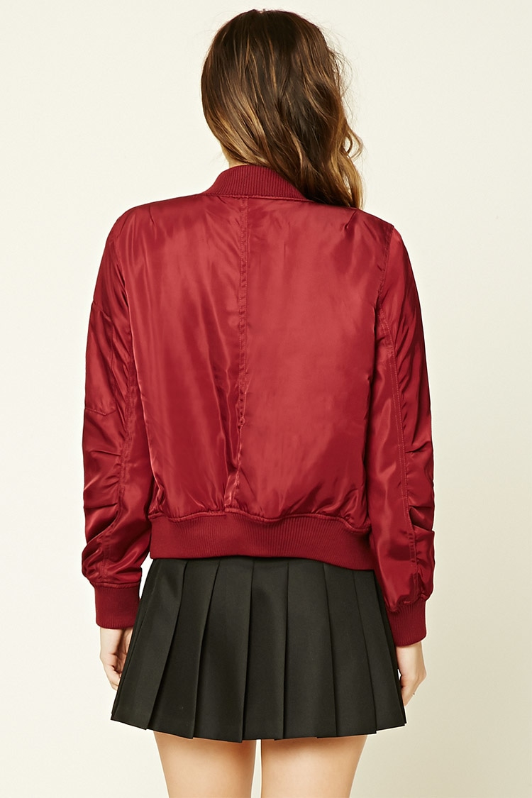 Forever 21 Quilted Bomber Jacket In Red Lyst