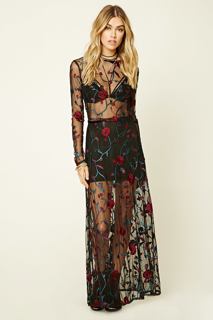 2dbc17e5c79 Lyst - Forever 21 Floral Embroidered Maxi Skirt in Black