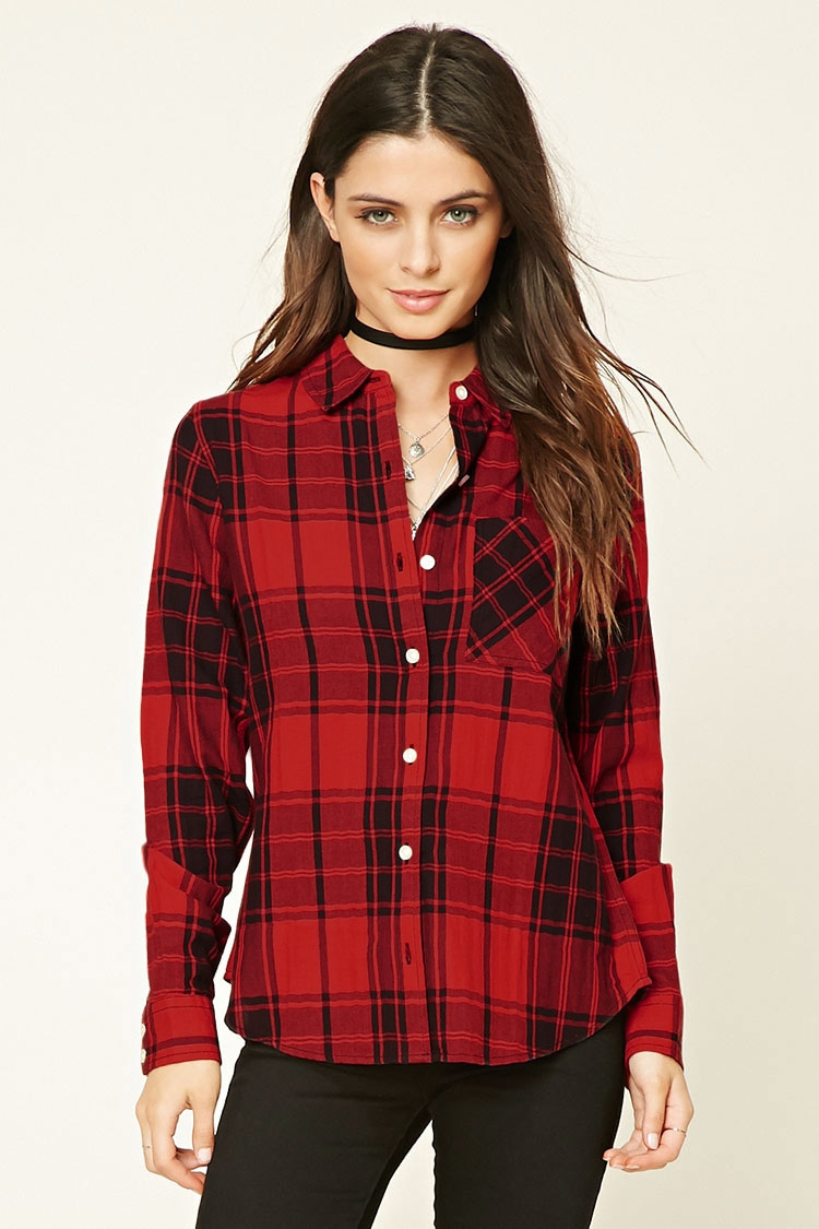Forever 21 Tartan Plaid Shirt In Red Lyst