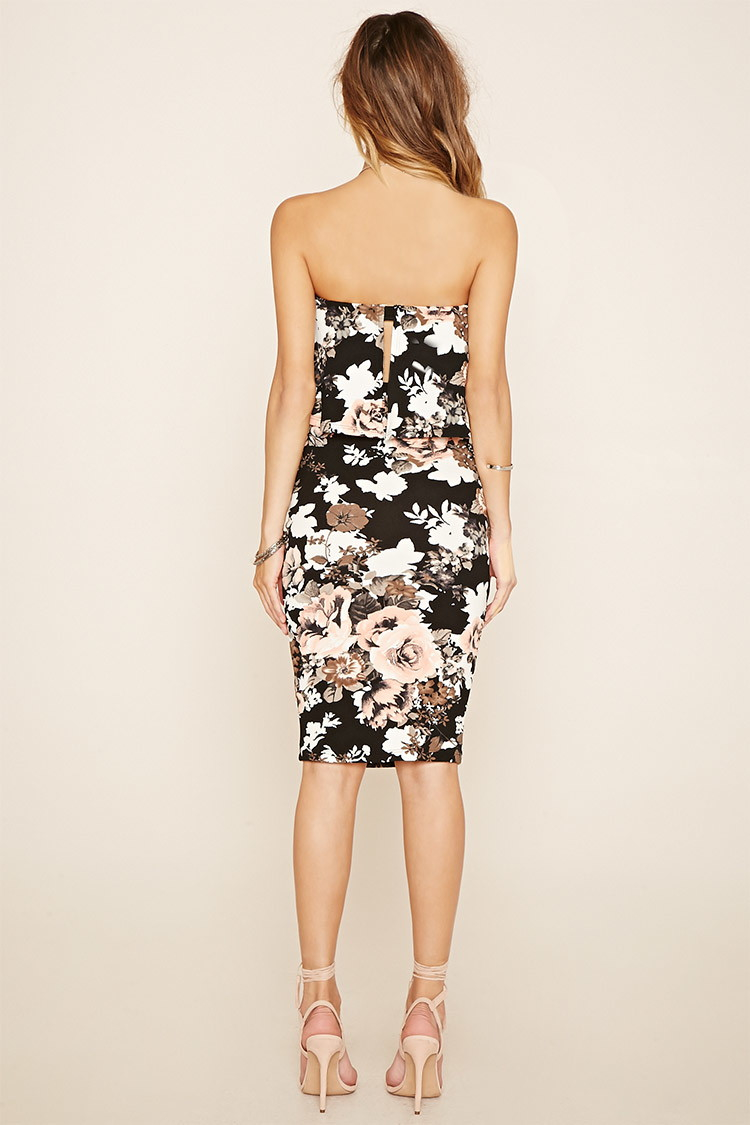 Forever 21 Strapless Floral Bodycon Dress In Black Black