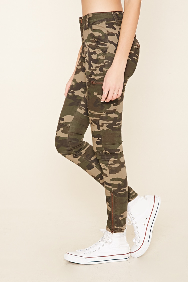 Popular Forever 21 Distressed Camo Pants In Green | Lyst