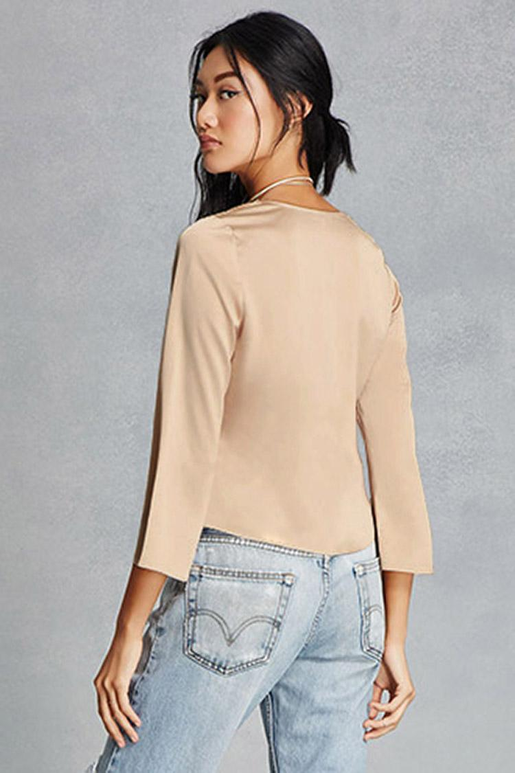 Forever 21 Satin Tie Front Peplum Top Lyst