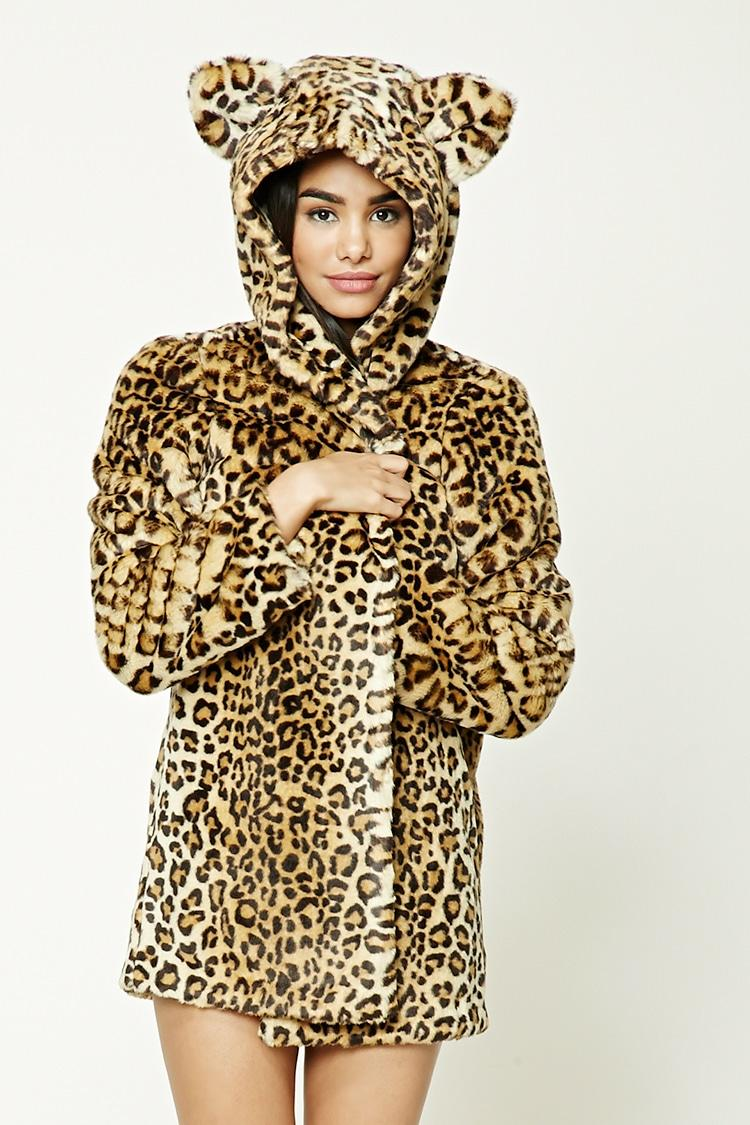 956ad91f40fa Forever 21 Hooded Leopard Print Jacket in Brown - Lyst