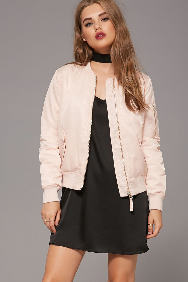 Forever 21 Padded Bomber Jacket In Pink Lyst