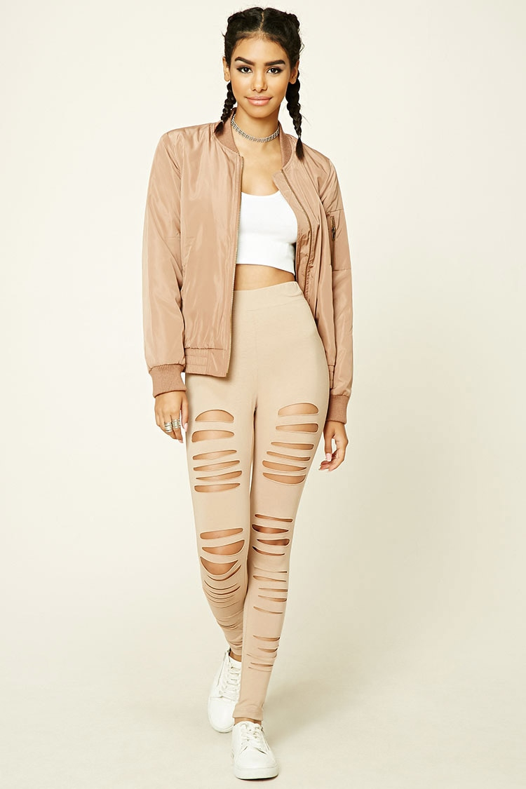 Forever 21 Ripped Stretch-knit Leggings in Natural | Lyst