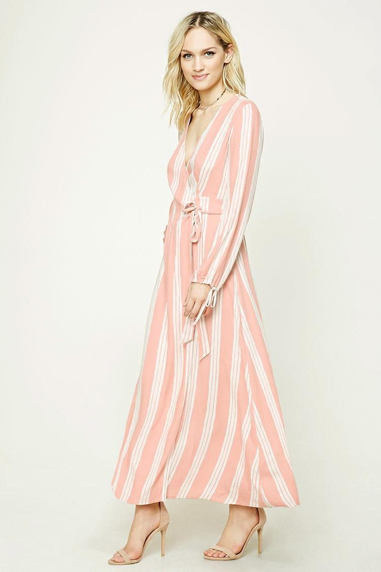 Lyst Forever 21 Contemporary Striped Maxi Dress In Pink