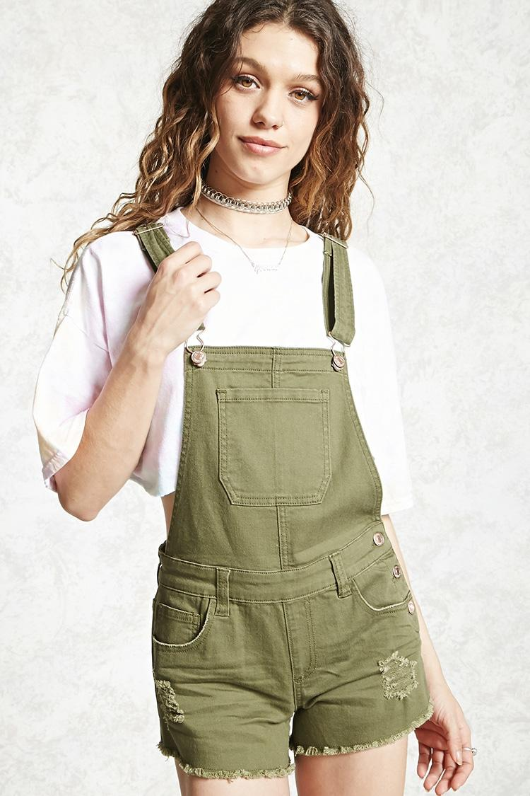 Forever 21 Distressed Dungaree Shorts In Green Lyst
