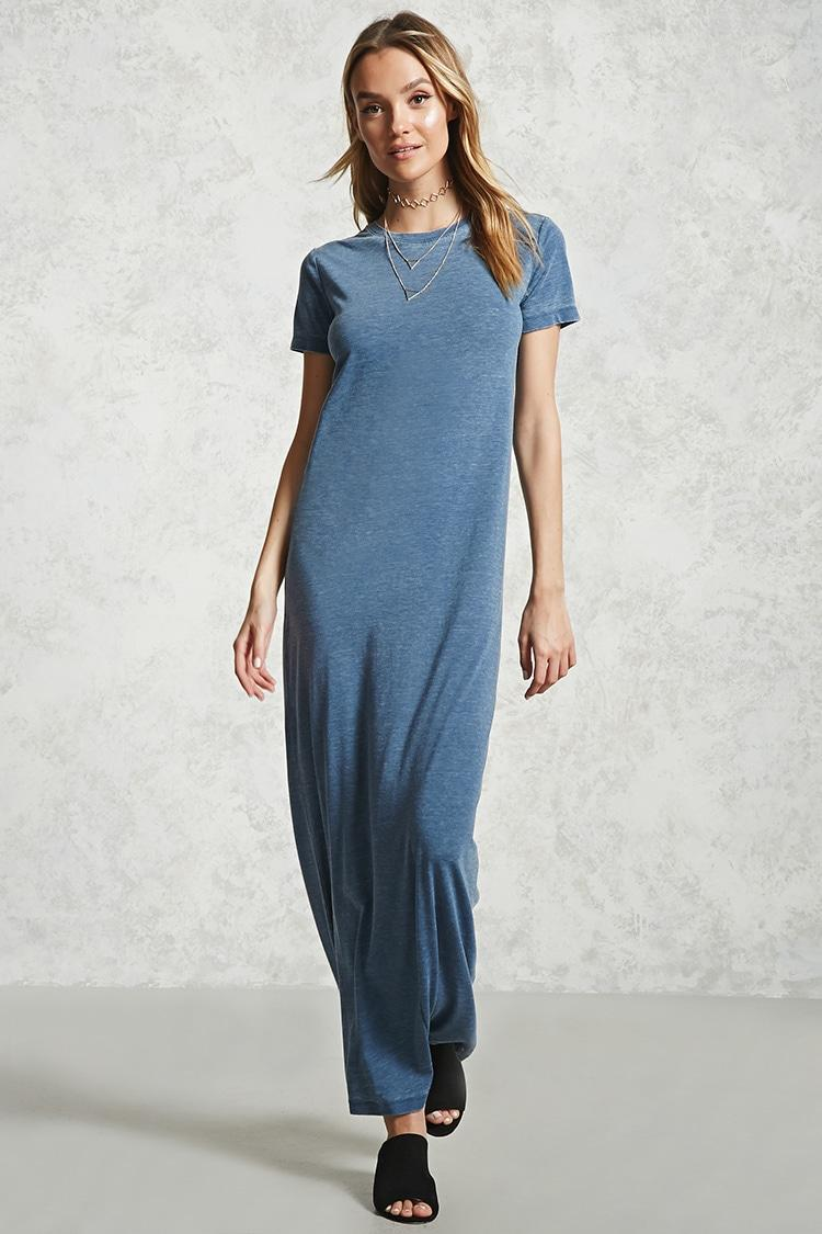 Forever 21 Burnout T Shirt Maxi Dress In Blue Lyst