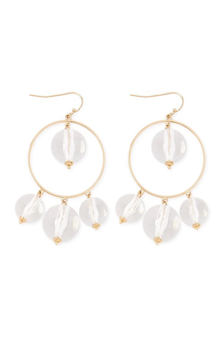 44a055edf9ec2 Lyst - Forever 21 Translucent Ball Hoop Drop Earrings in Metallic