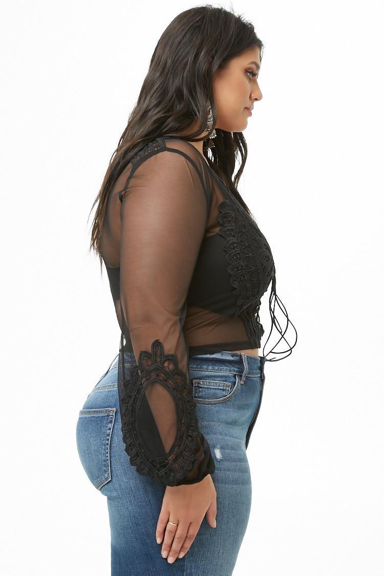 056a9b021d7 Forever 21 Women s Plus Size Sheer Crochet Lace Crop Top in Black - Lyst