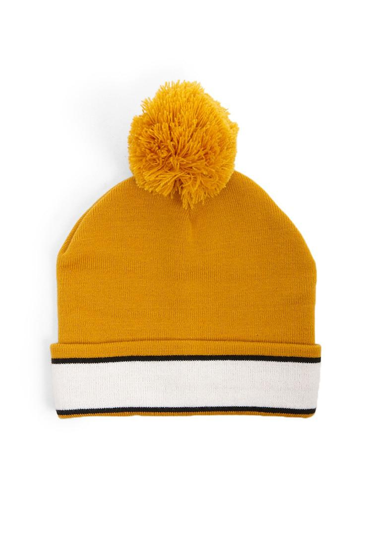 916f5b87fac Forever 21 Striped Ribbed Beanie Hat in Yellow - Lyst