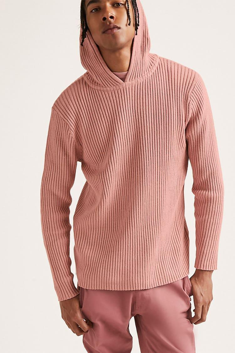 Forever 21 Ribbed Knit Hooded Sweater in Pink for Men | Lyst
