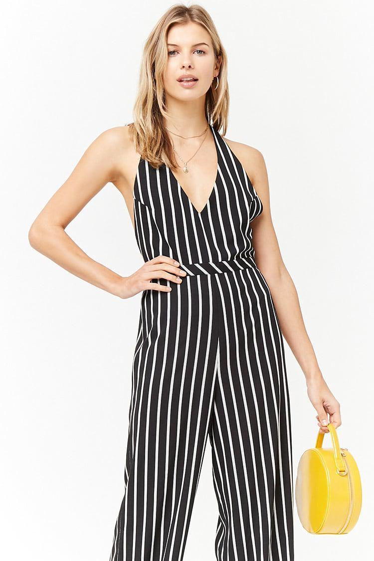 523da78e4ea Forever 21 Women s Stripe Halter Jumpsuit in Black - Lyst