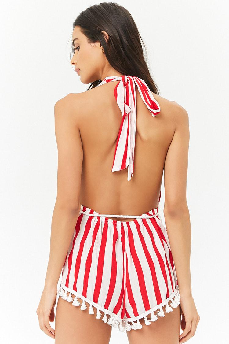 d83eb26c63 Forever 21 Striped Swim Cover-up Romper in Red - Lyst