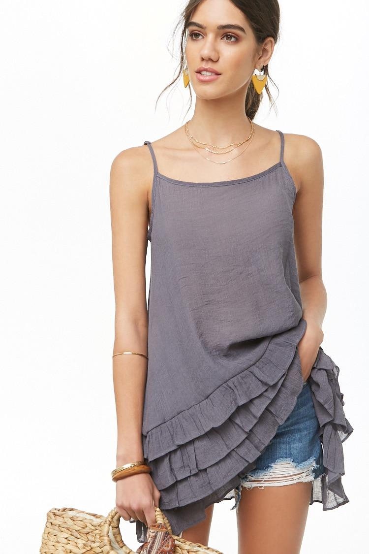 af467038dc Forever 21 - Gray Tiered Ruffle-hem Longline Top - Lyst. View fullscreen