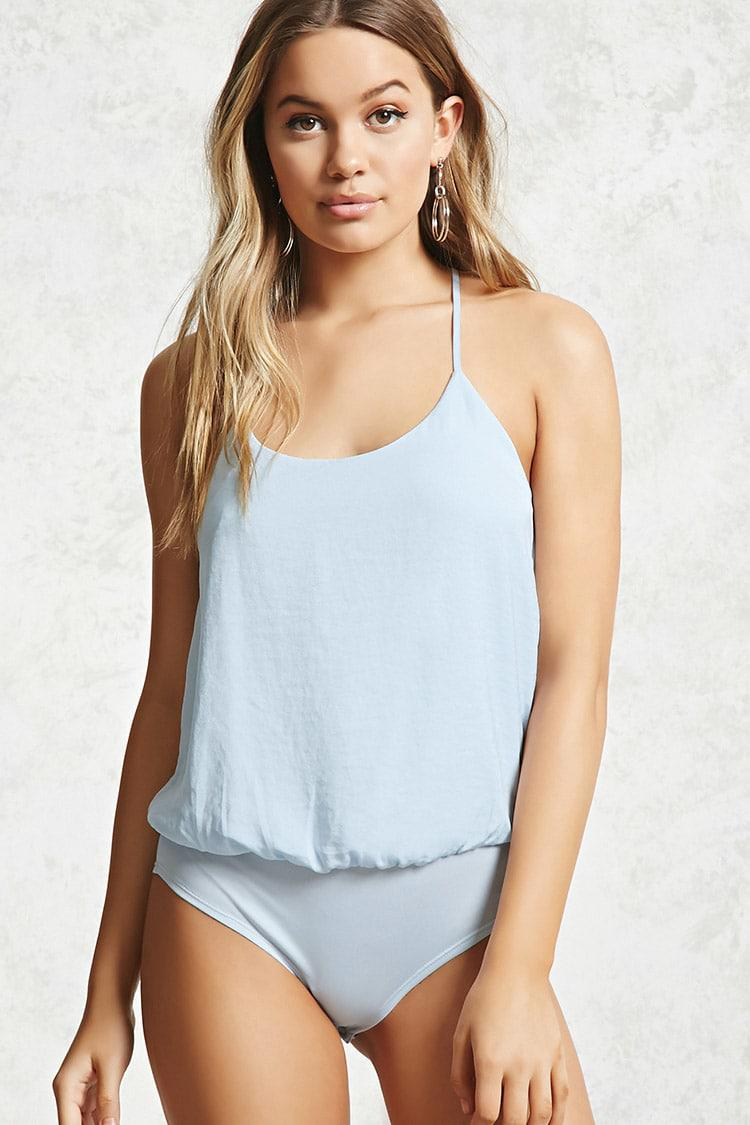 Forever 21 Satin Cami Bodysuit in Blue - Lyst 169cc902b