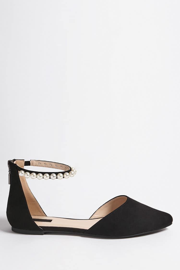 a662264329c7 Forever 21 Embellished Faux Suede Flats in Black - Lyst