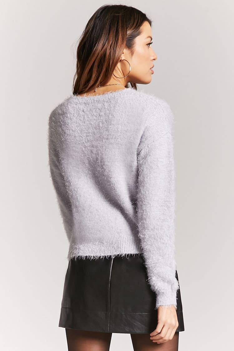 Forever 21 Fuzzy Knit Sweater in Blue | Lyst