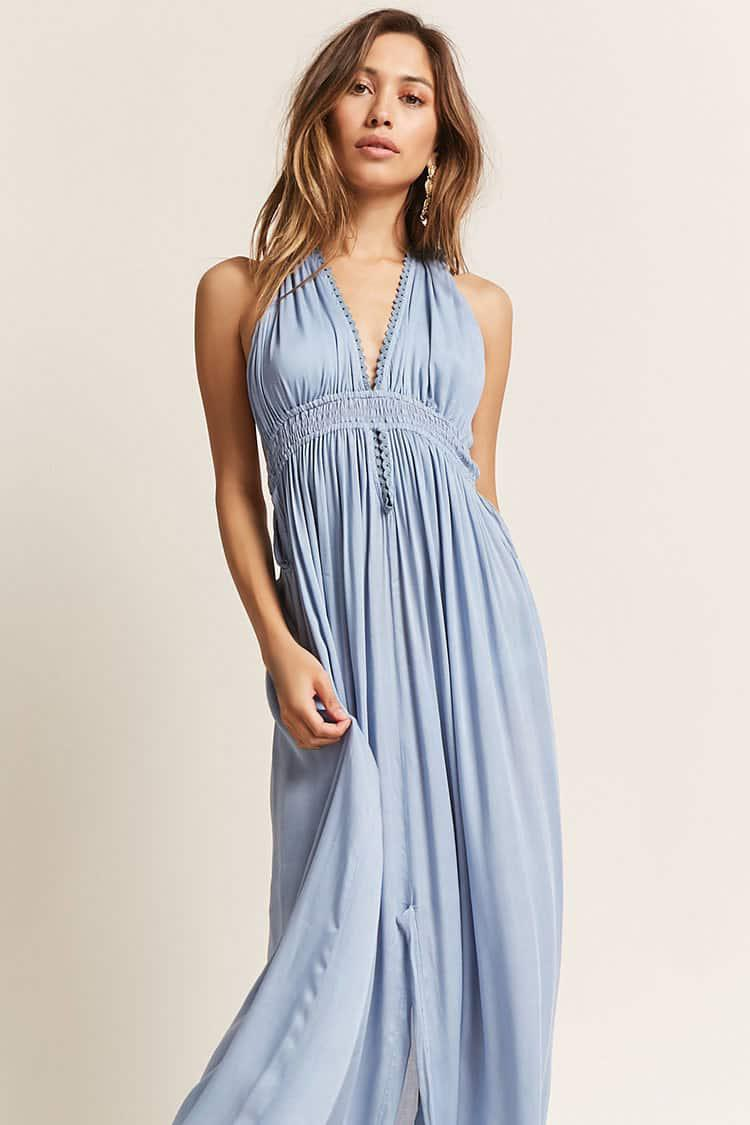 ee0b0d3950 Forever 21 Boho Me Plunging Halter Maxi Dress in Blue - Lyst