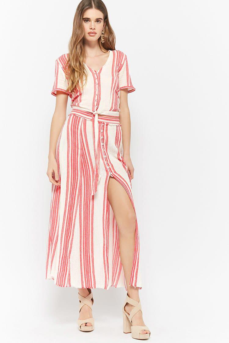 d8f59e5de0da Lyst - Forever 21 Z l Europe Striped Split-front Maxi Skirt in Red