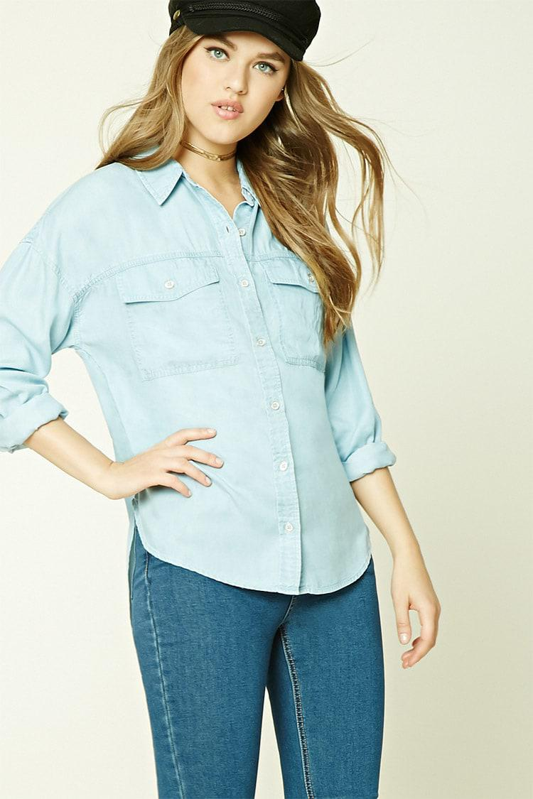 3d35562f4d6 Lyst - Forever 21 High-low Chambray Shirt in Blue