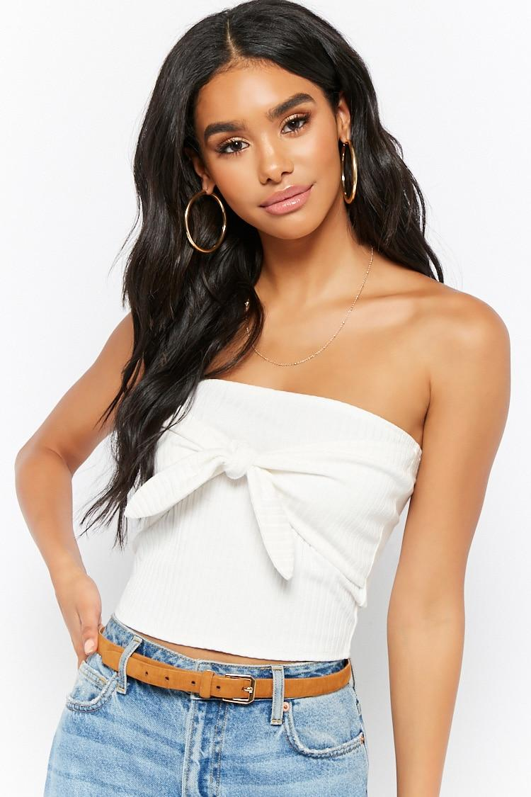 5f80e978db Lyst - Forever 21 Tie-front Ribbed Tube Top in White