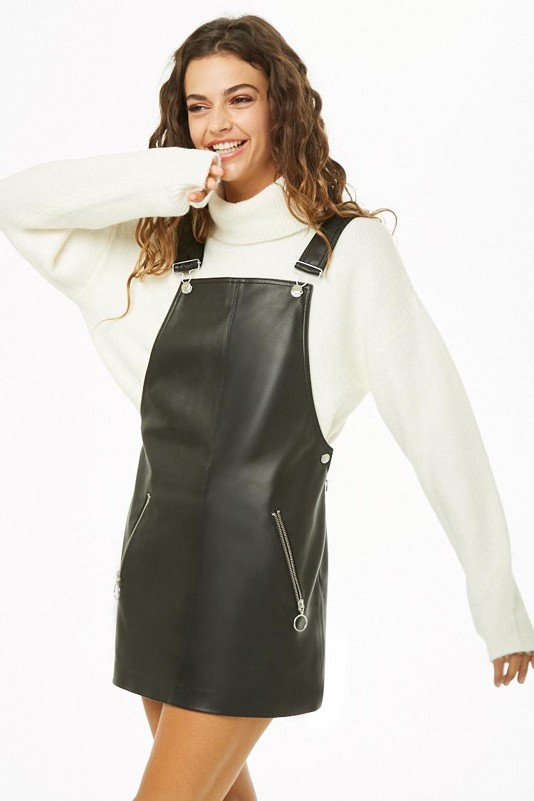 f9a4bd9808a5 Lyst - Forever 21 Faux Leather Pinafore Dress in Black