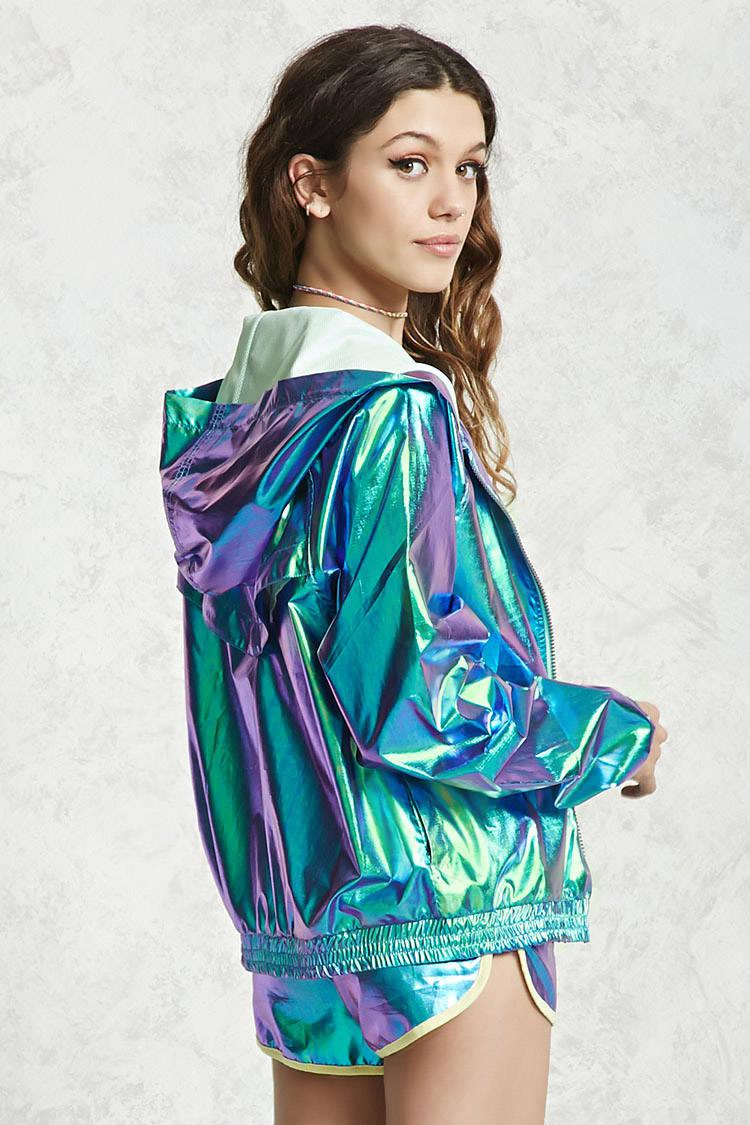 Lyst Forever 21 Holographic Windbreaker Jacket In Green