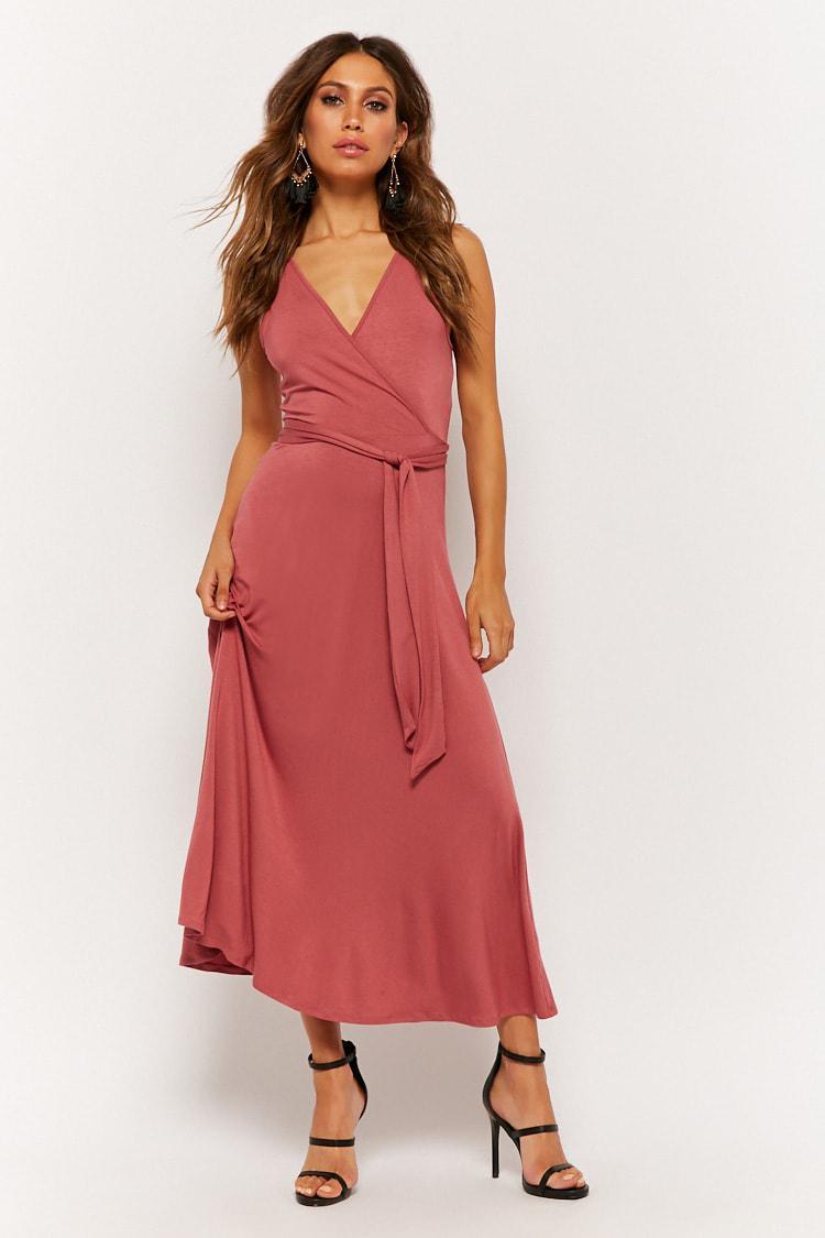 d1d09f098de Lyst - Forever 21 Belted Surplice Midi Dress in Purple