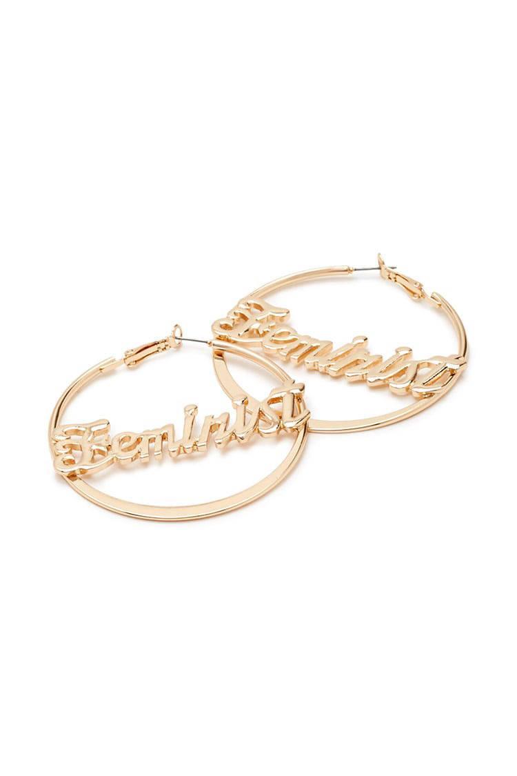 3a7bac6f4609f Forever 21 Feminist Hoop Earrings in Metallic - Lyst