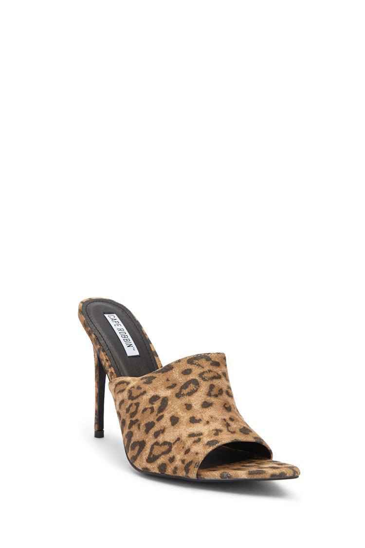9bafde03e70a Lyst - Forever 21 Microfiber Leopard Print Slide Heels in Brown