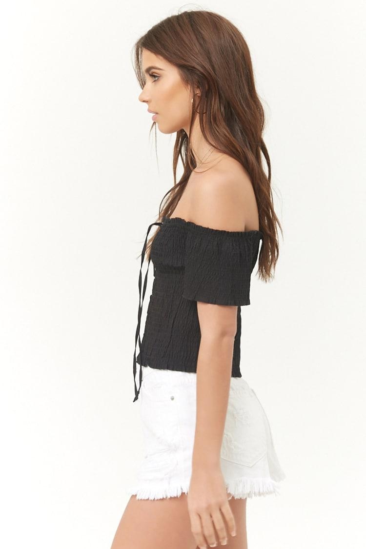 aa117a8ce7c Forever 21 Smocked Off-the-shoulder Lace-up Crop Top in Black - Lyst