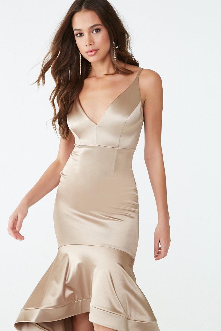 3958c98daa0 Forever 21 - Metallic Satin High-low Mermaid Gown - Lyst. View fullscreen