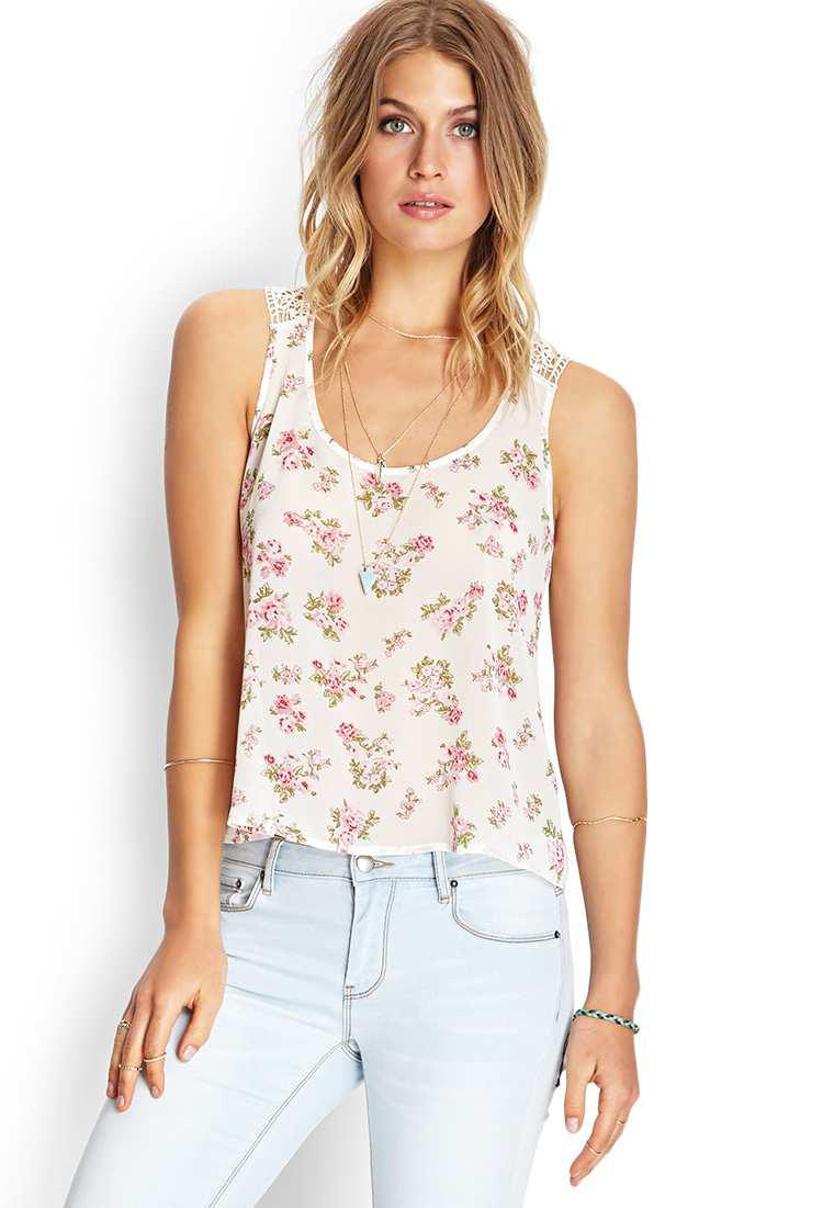 019b4cd603093 Forever 21 Crocheted Floral Tank Top in Pink - Lyst