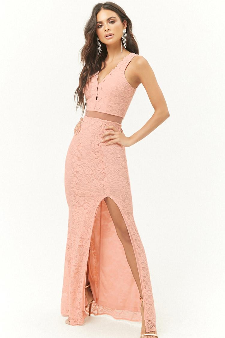 a0f60c5226c Lyst - Forever 21 Sheer Waist Lace Maxi Dress in Pink