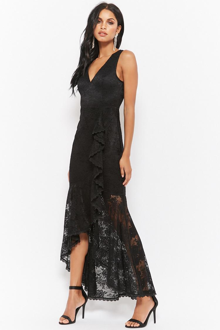 20479cb2c5 Lyst - Forever 21 Lace High-low Maxi Dress in Black