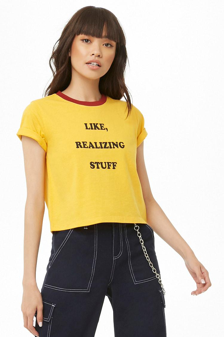 1512cf0ebc10 Forever 21 Women s Like Realizing Stuff Graphic Tee Shirt in Yellow ...