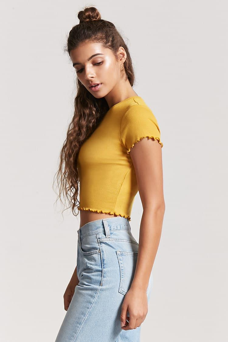 f994a4598786d5 Lyst - Forever 21 Ribbed Lettuce-edge Crop Top in Yellow
