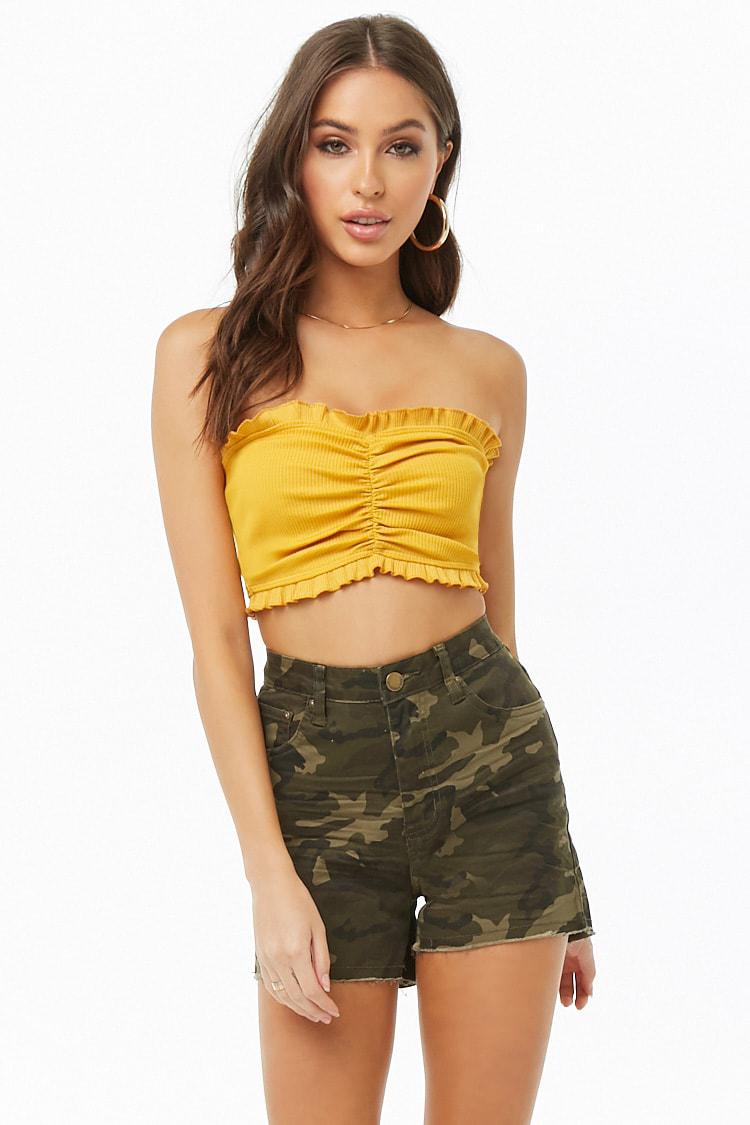 cf3b4f94ae Lyst - Forever 21 Ribbed Knit Ruffle Tube Top in Yellow