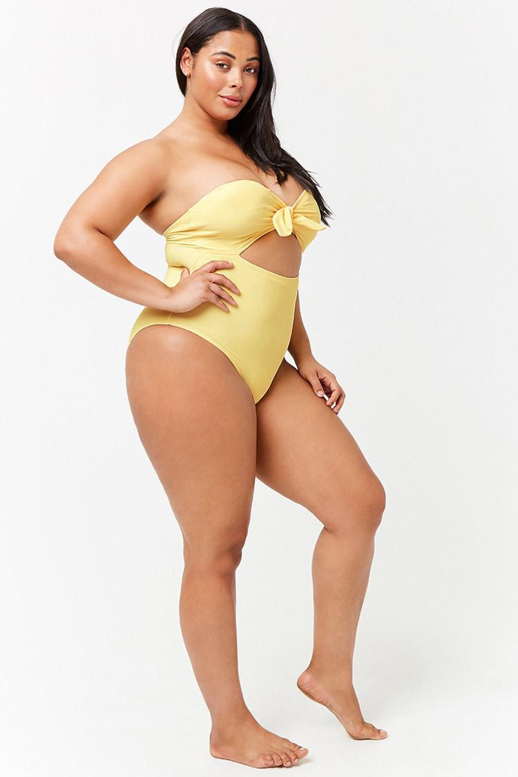 93743721a6430 ... Women s Plus Size Strapless Cutout One-piece Swimsuit - Lyst. View  fullscreen