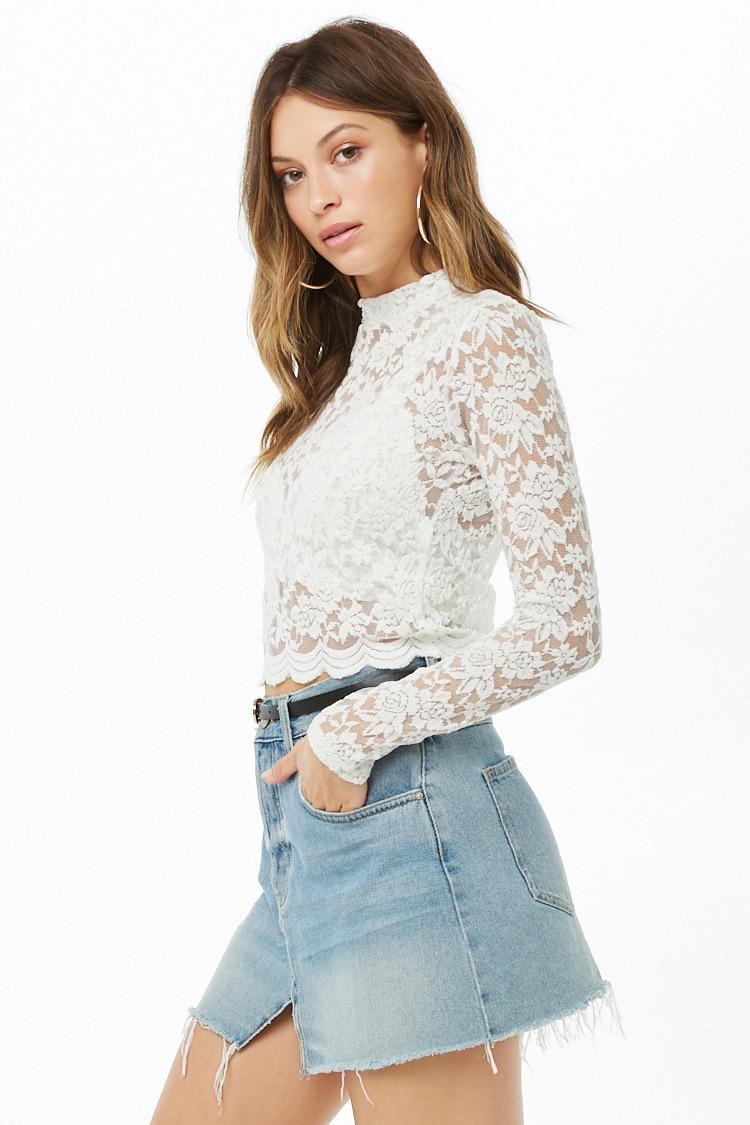 08dd766fcd93 Forever 21 Sheer Lace Crop Top in White - Lyst
