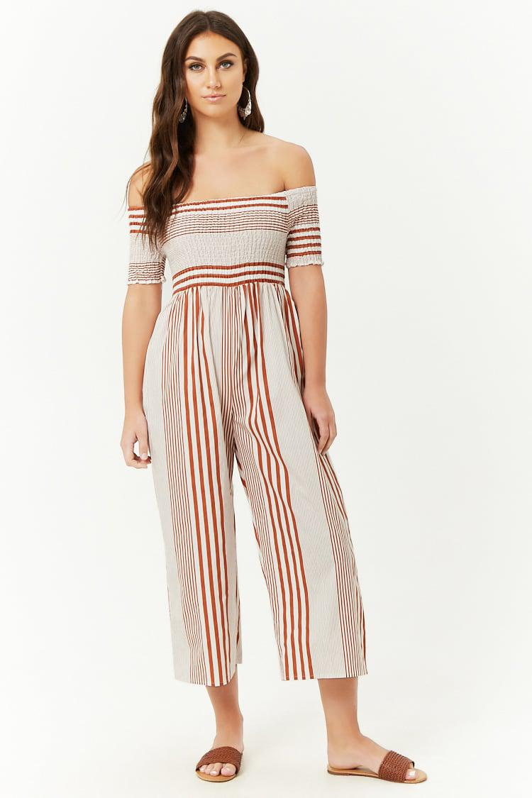 9f763d3cfd Lyst - Forever 21 Smocked Striped Jumpsuit in Red